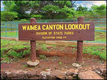 Waimea Canyon Lookout Sign